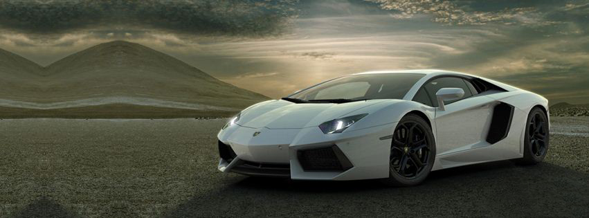 Lamborghini Aventador White Facebook cover photo profile banner